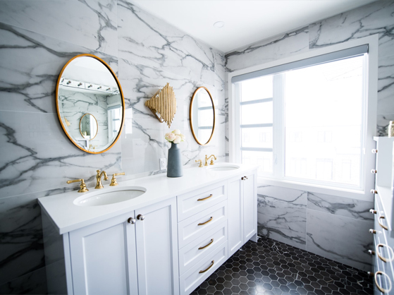 A bathroom featuring a double vanity